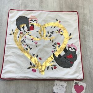 NWT THRO by Marlo Lorenz Sloth Heart Pillow Cover